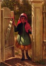 John George Brown - Bilder Gemälde - At the Doorway