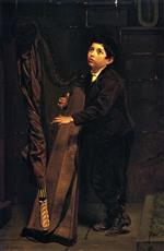 John George Brown - Bilder Gemälde - Boy with Harp