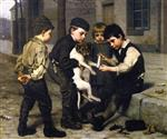 John George Brown  - Bilder Gemälde - The Wounded Playfellow