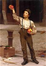 John George Brown  - Bilder Gemälde - The Young Apple Salesman
