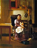 John George Brown  - Bilder Gemälde - The Young Mother