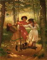 John George Brown  - Bilder Gemälde - Three Girls on a Swing