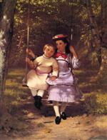 John George Brown  - Bilder Gemälde - Two Girls on a Swing