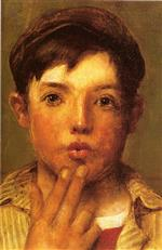 John George Brown  - Bilder Gemälde - Urchin Head of Boy