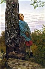 John George Brown  - Bilder Gemälde - Watching the Woodpecker