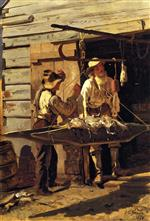 John George Brown  - Bilder Gemälde - Weighing the Catch