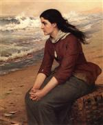 John George Brown  - Bilder Gemälde - When the Flowing Tide Comes In