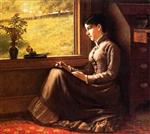 John George Brown  - Bilder Gemälde - Woman Seated at Window