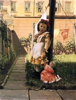 John George Brown  - Bilder Gemälde - Young Girl in a New York Garden