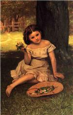 John George Brown  - Bilder Gemälde - Young Girl with Flowers