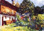 Wassily Kandinsky  - Bilder Gemälde - Kochel - Farmhouse with Church