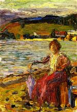 Wassily Kandinsky  - Bilder Gemälde - Kochel - Lady Seated by a Lakeside