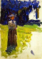 Wassily Kandinsky  - Bilder Gemälde - Kochel - Lady Standing by the Forest's Edge