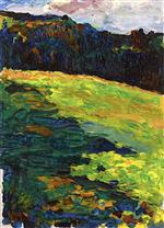 Wassily Kandinsky  - Bilder Gemälde - Kochel - Mountain Meadow at the Edge of the Forest