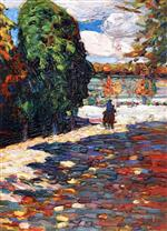 Wassily Kandinsky  - Bilder Gemälde - Park of St Cloud - With Horseman