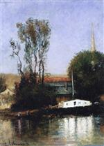 Albert Lebourg - Bilder Gemälde - A Boat on the Seine