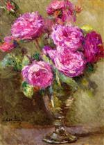 Albert Lebourg - Bilder Gemälde - Bouquet of Roses in a Footed Glass