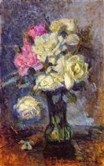 Albert Lebourg - Bilder Gemälde - Bouquet of Roses in a Vase