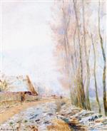 Albert Lebourg  - Bilder Gemälde - The Hondouville Road, the Effect of Frost