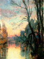 Albert Lebourg  - Bilder Gemälde - View of a River with Trees at Sunset