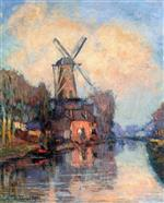 Albert Lebourg  - Bilder Gemälde - Windmill on the Meuse, Holland