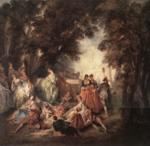 Nicolas Lancret - paintings - Company in the Park