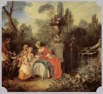 Nicolas Lancret - paintings - Lady and Gentleman with two Girls and a Servant