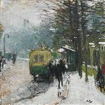 Pierre Eugène Montézin  - Bilder Gemälde - The Tramway in Snow at Neuilly