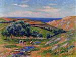 Henry Moret - Bilder Gemälde - A Valley in Sadaine, the Bay of Douarnenez