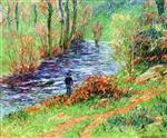 Henry Moret  - Bilder Gemälde - Fisherman on the Banks of the River