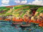 Henry Moret  - Bilder Gemälde - Fishing Boats near the Breton Coast
