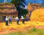 Henry Moret  - Bilder Gemälde - Threshing Wheat