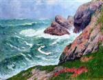 Henry Moret  - Bilder Gemälde - Waves at Pen-men, Île de Groux