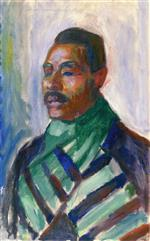 Edvard Munch - Bilder Gemälde - African with Green Scarf