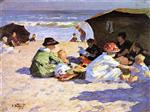 Edward Henry Potthast - Bilder Gemälde - A Day at the Seashore