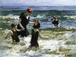 Edward Henry Potthast - Bilder Gemälde - A Timid Bather