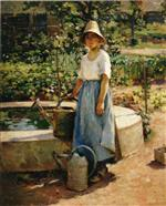 Theodore Robinson - Bilder Gemälde - At the Fountain