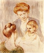 Mary Cassatt - paintings - A Baby Smiling at Two Young Women