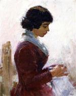 Theodore Robinson  - Bilder Gemälde - Girl in Red, Sewing