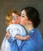 Mary Cassatt - paintings - A Kiss for Baby Anne