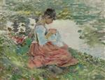 Theodore Robinson  - Bilder Gemälde - Girl Sewing by River
