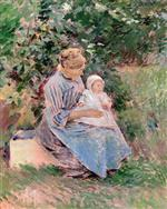 Theodore Robinson  - Bilder Gemälde - Normandy Mother and Child