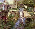 Theodore Robinson  - Bilder Gemälde - Pere Trognon and His Daughter at the Bridge