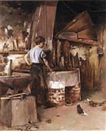 Theodore Robinson  - Bilder Gemälde - The Apprentice Blacksmith