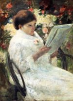 Mary Cassatt - paintings - Woman Reading in a Garden