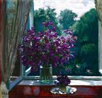 Stanislaw Julianowitsch Zukowski - Bilder Gemälde - Bluebells by the Window