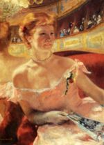 Mary Cassatt - paintings - Woman With A Pearl Necklace In A Loge