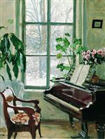 Stanislaw Julianowitsch Zukowski  - Bilder Gemälde - Interior with a Piano-2