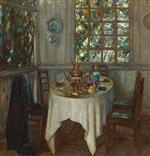 Stanislaw Julianowitsch Zukowski  - Bilder Gemälde - Interior with Samovar