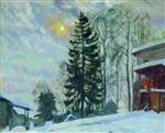 Stanislaw Julianowitsch Zukowski  - Bilder Gemälde - Mansion in Winter